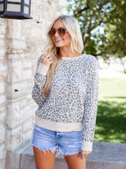 Printed Crew Neck Pullover Sweater