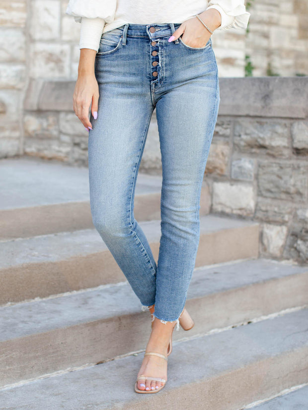Exposed Button Fray Hem Ankle Skinny