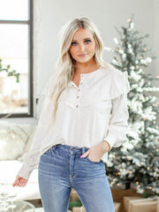 Nation Button Up Ruffle Blouse