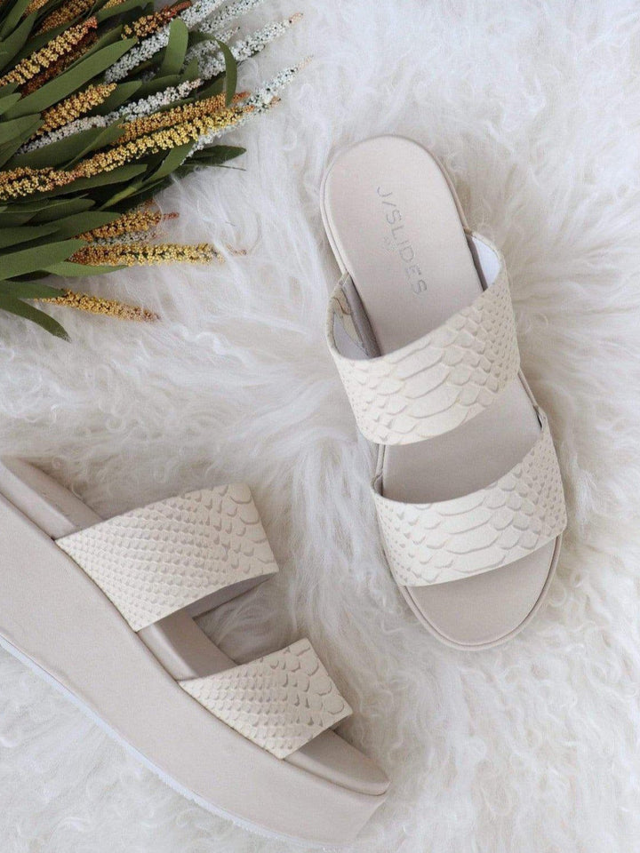 J Slide embossed sandal