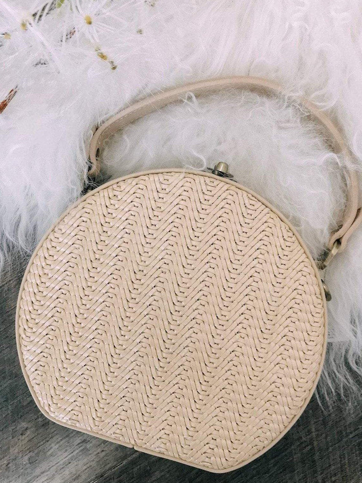 Joia Handbags Woven Round Top Lock Bag