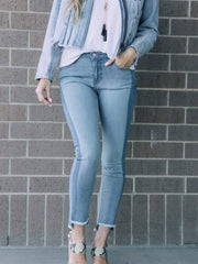 striped ankle crop denim