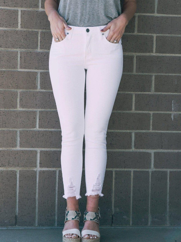 destructed hem white skinny