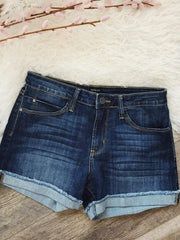 Just Black Denim Shorts/Skirts Just Black Roll Cuff Dark Denim Short