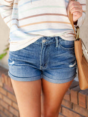 KanCan Hazel High Rise Distress Cuff Shorts
