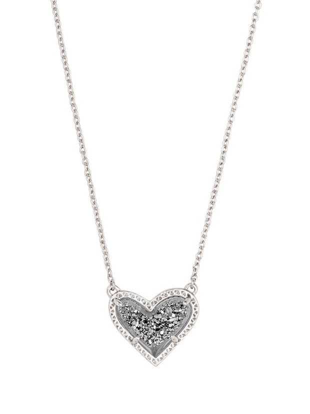 heart drusy necklace