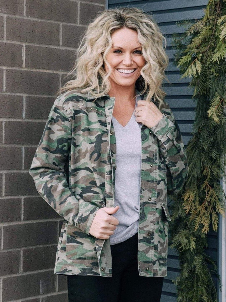 KUT from the Kloth Outerwear KUT Claudia Studded Camo Twill Jacket