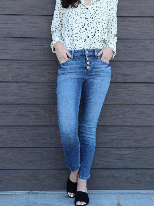 button front high rise skinny