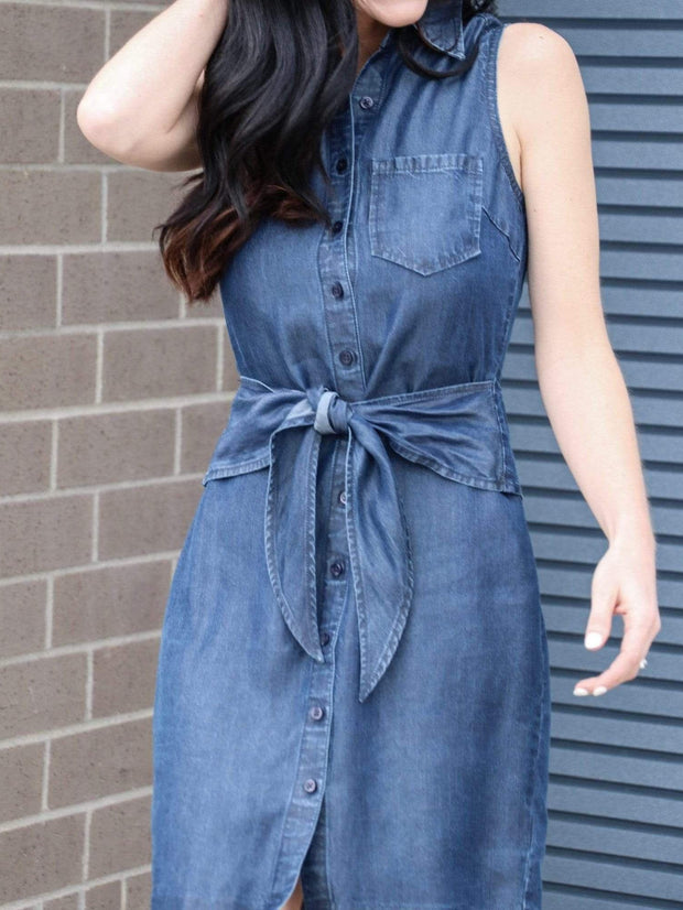 Level 99 denim collared blue dress