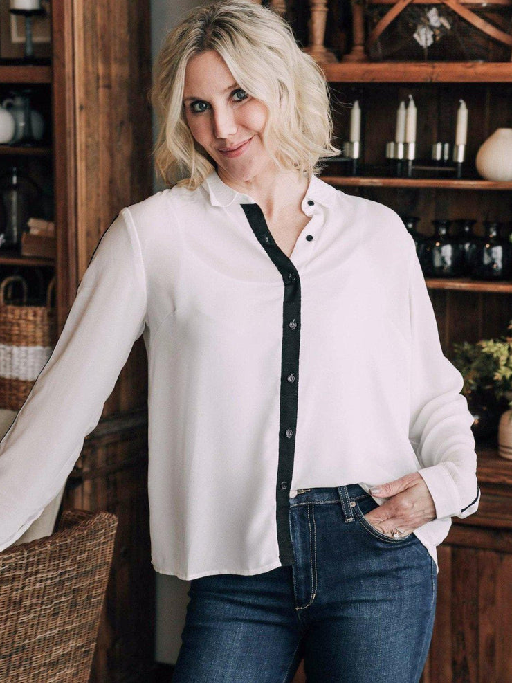 LUSH Woven tops Contrast Trim Woven Blouse