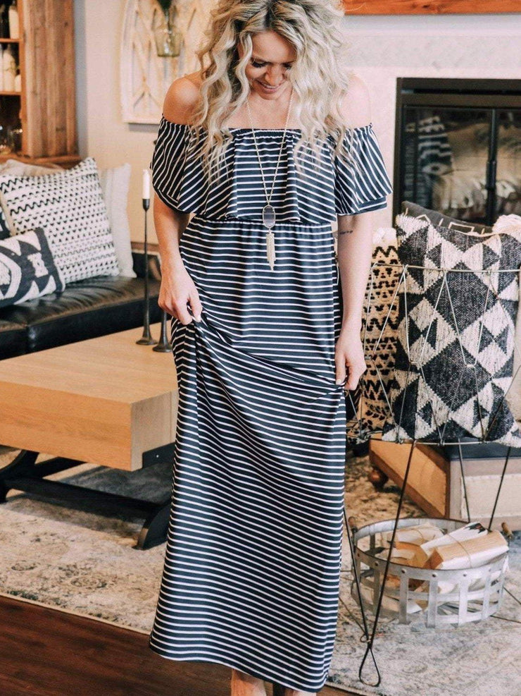 Mary Square Dress Off The Shoulder Stripe Ruffle Maxi Dress