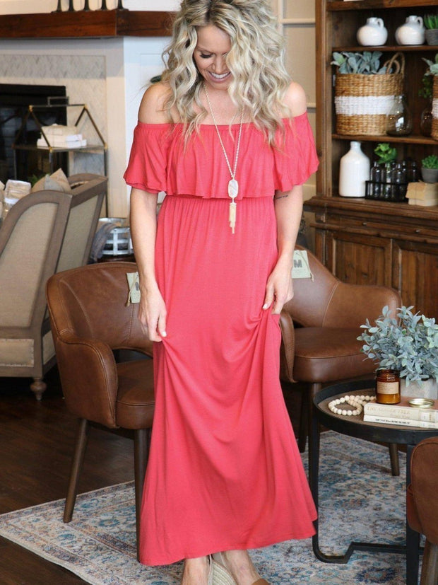Mary Square Dress Off The Shoulder Ruffle Maxi Dress