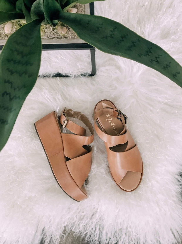 Matisse Tan Block Strap Wedge