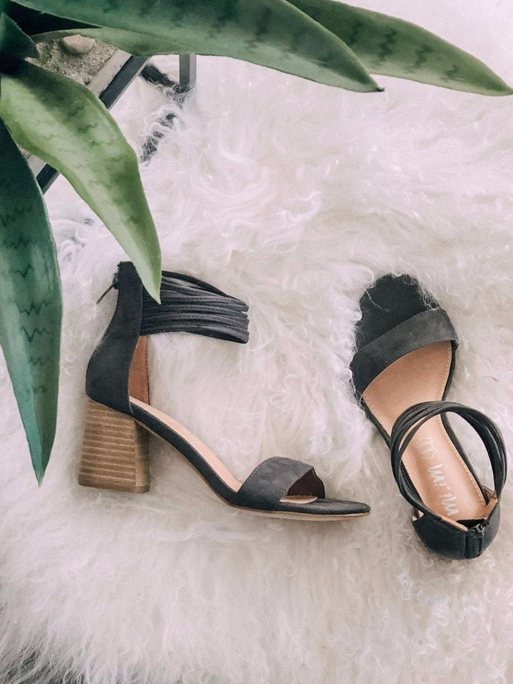 Mi.iM Footwear Dark Grey / 6 / LENNA Mi.iM Lenna Shredded Ankle Strap Block Heel