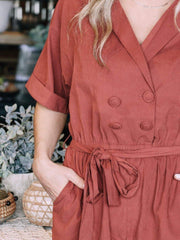 Notched Collar Romper