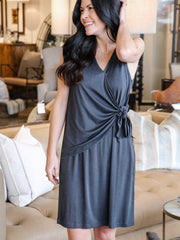 charcoal modal side tie dress