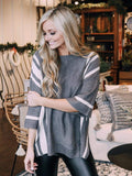 Stripe Side Dolman Sweater