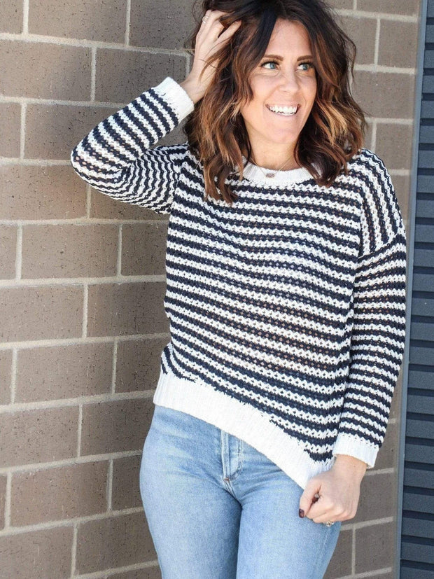 navy white striped sweater
