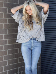 oversized relaxed grey sweater knit