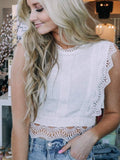 Lace Zipper Detail Woven Crop Top