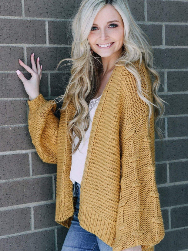 Stacatto Cardigans Puff Sleeves Chunky Cardigan