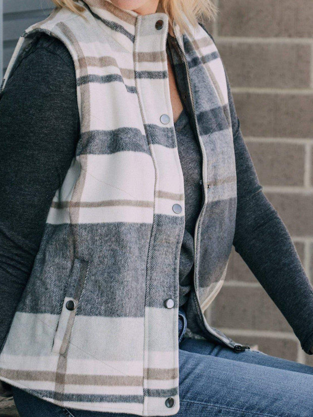 Thread and Supply Outerwear Plaid Button Front Vest
