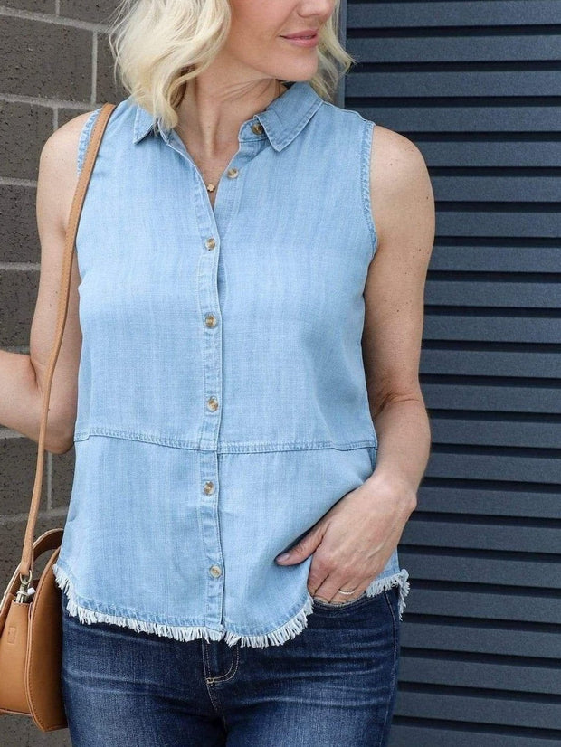 fray hem chambray top