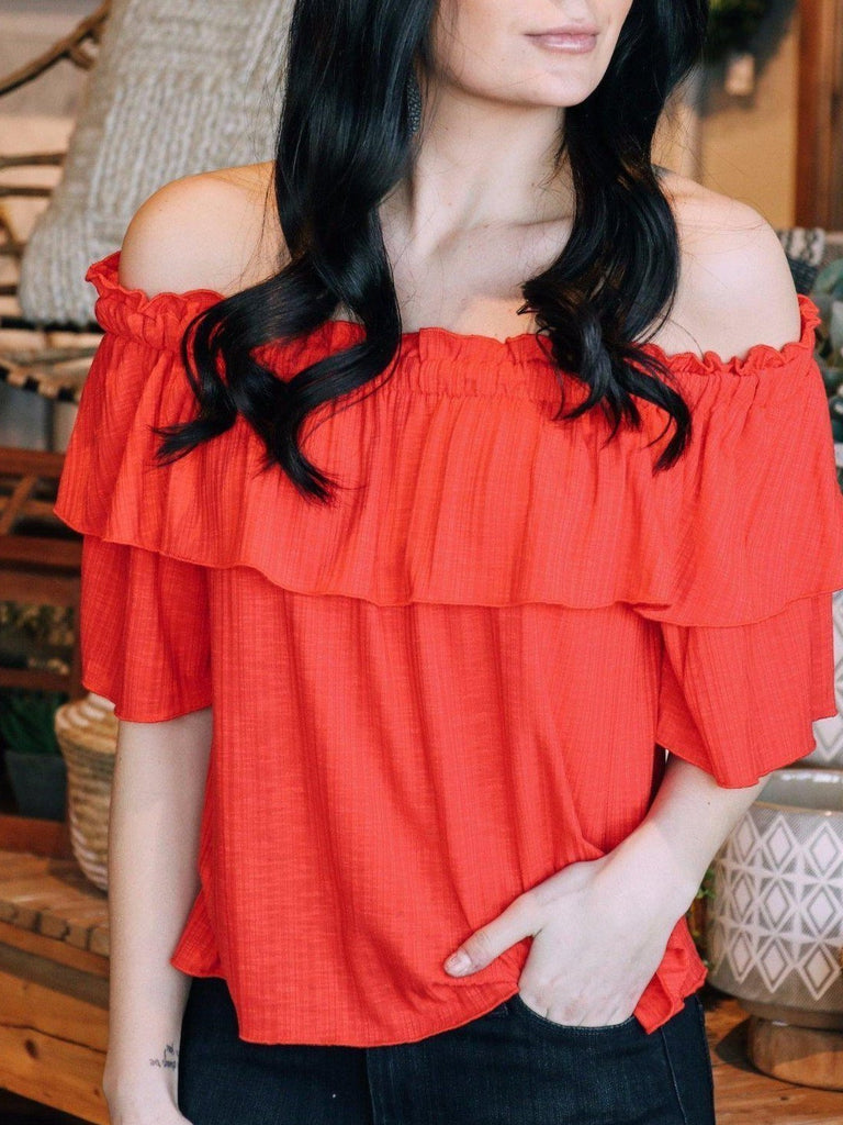 Very J Knit tops Ruffle Off Shoulder Top