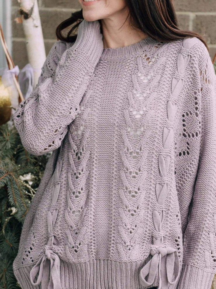 Wishlist Sweaters Lace Up Cable V Neck Sweater