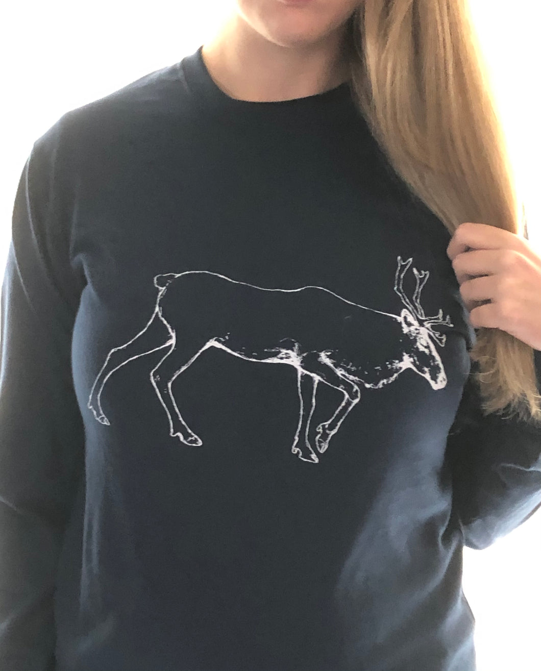 Caribou | UNISEX | NAVY | Made in Canada | Original Artwork by Bruce Pashak