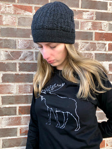 Moose | Unisex | BLACK | Long Sleeve | Made in Canada | Original Artwork by Bruce Pashak