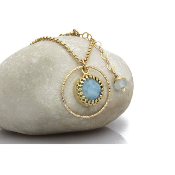 Aquamarine Infinity Circle Necklace - The Little Secret Boutique