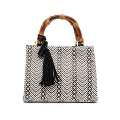 Mini Bohemian Woven Bamboo Handle Tassel Tote - The Little Secret Boutique