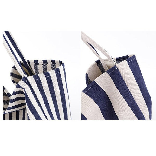 Stripe Canvas Beach Tote - The Little Secret Boutique