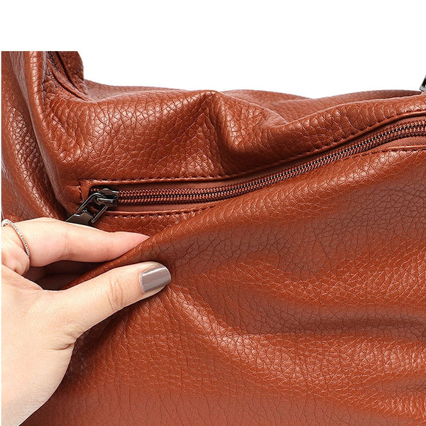 "Vegan ""Mushroom"" Leather Double Zipper Convertible Bag - The Little Secret Boutique"