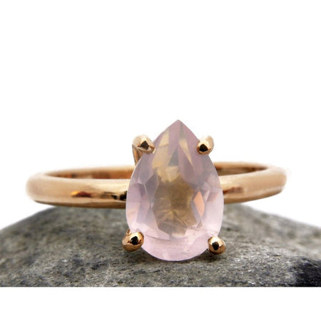 Rose Quartz Teardrop Ring
