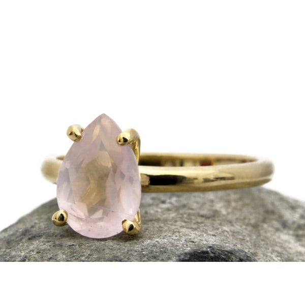 Delicate Rose Quartz Teardrop Ring - The Little Secret Boutique