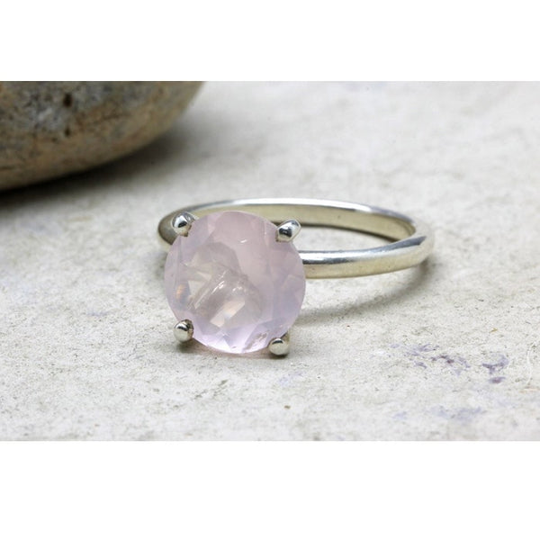 Delicate Rose Quartz Round Ring - The Little Secret Boutique