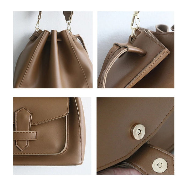 Vegan Leather Drawstring Bucket Tote