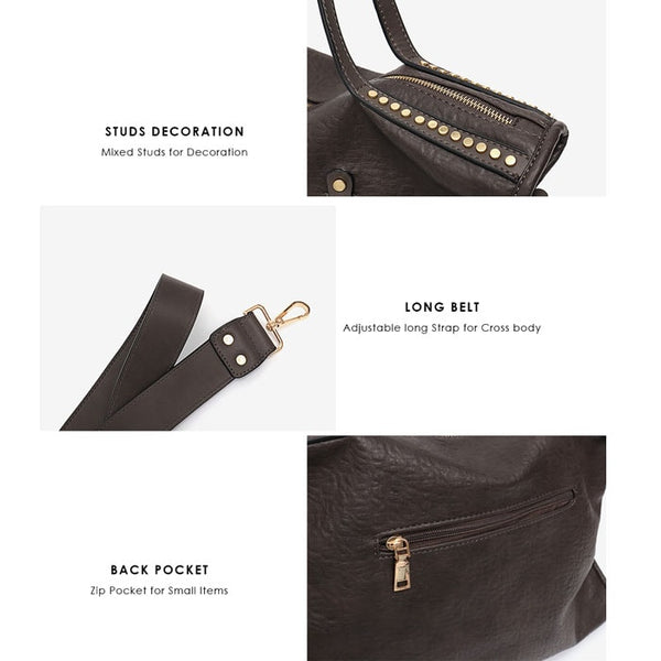 Jules Studded Messenger Tote - The Little Secret Boutique