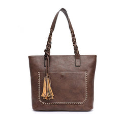 The LIZA Vegan Leather Tassel Tote Laptop Bag - The Little Secret Boutique