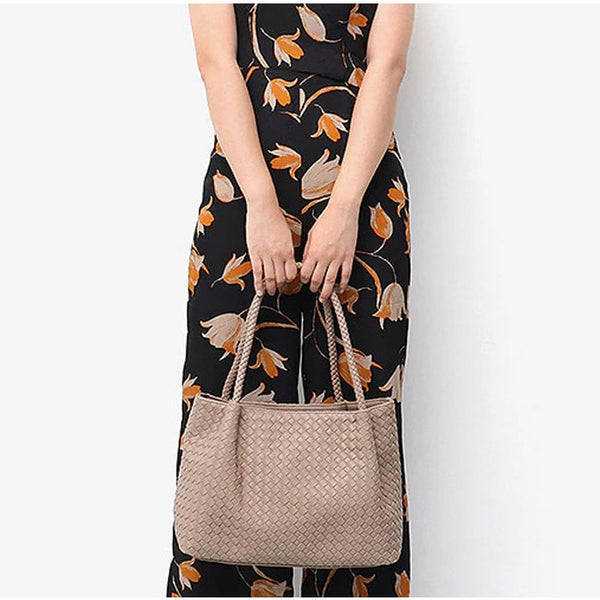 Luxury Collection Hand Woven Large Capacity Vegan Leather Tote - The Little Secret Boutique