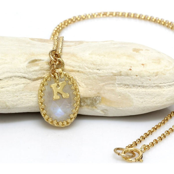 Moonstone Initial Necklace - The Little Secret Boutique