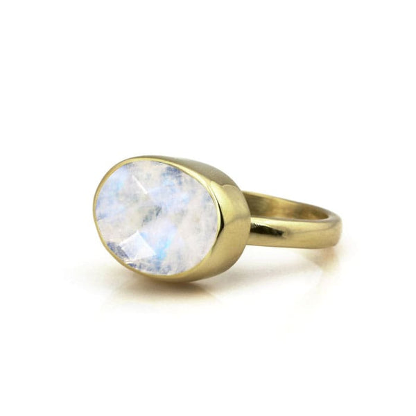 Rainbow Moonstone Oval Ring - The Little Secret Boutique