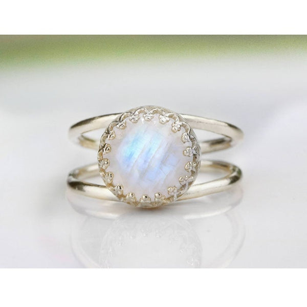 Rainbow Moonstone Round Ring - The Little Secret Boutique