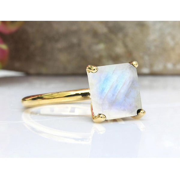 Rainbow Moonstone Square Ring - The Little Secret Boutique