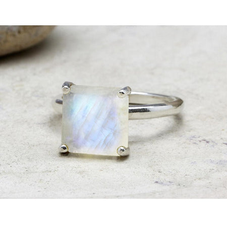 Rainbow Moonstone Round Ring
