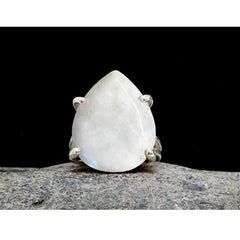 Rainbow Moonstone Teardrop Statement Ring - The Little Secret Boutique