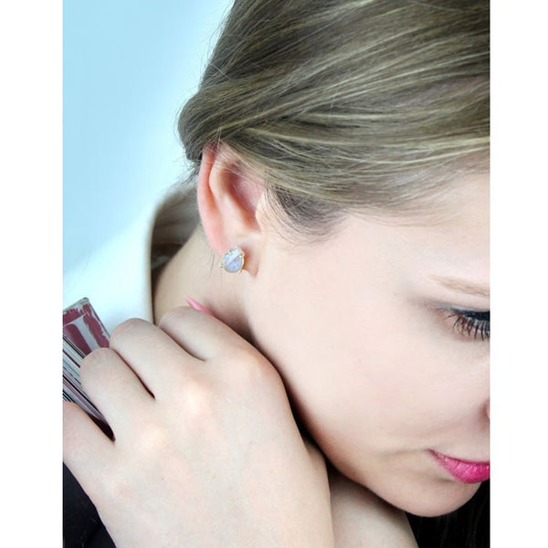 Custom Shape Moonstone Post Earrings - The Little Secret Boutique