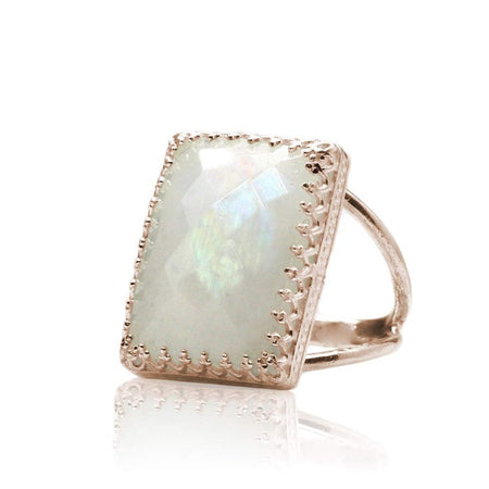 Rainbow Moonstone Square Ring